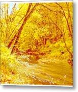 Autumn Woodland Stream Pennsylvania Digital Art Metal Print