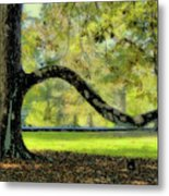 Autumns Bench Metal Print