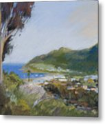 Avalon Harbor - Taking The High Road Catalina Island Oil Painting Metal Print