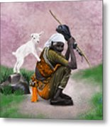 Awesome Village Woman Realistic Painting Metal Print