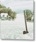 Axe In Snow Scene Metal Print