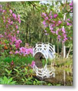 Azaleas And Bridge In Magnolia Lagoon Metal Print