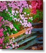 Azaleas Over The Fence Metal Print