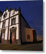 Azorean Church At Night Metal Print