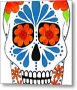 Aztec Inspired Sugarskull Metal Print