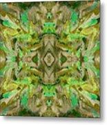 Aztec Kaleidoscope - Pattern 009 - Dark Olive Metal Print