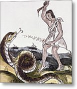 Aztec Killing A Serpent Metal Print