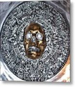 Aztec  Mayan Skull Warrior Calendar Relief Photo Metal Print