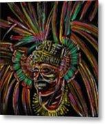 Aztec Skull Warrior Metal Print