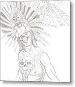 Aztec Warrior In Front Of Chicchen Itza Metal Print