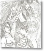 Aztec Warriors With Female Metal Print
