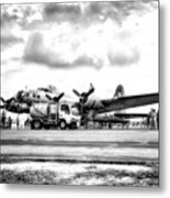 B-17 Bomber Fueling Up In Hdr Metal Print