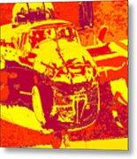 B-25 Red Yellow Metal Print