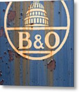 B And O Railroad Rail Car Signage Metal Print