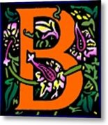 B In Orange Metal Print