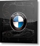 B M W  3 D  Badge Over B M W I8 Silver Blueprint On Black Special Edition Metal Print