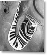 Piano Keys In A Saxophone B/w - Music In Motion Metal Print