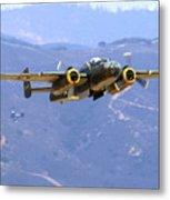 B25 Mitchell Flyby At Salinas Metal Print