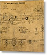 B29 Superfortress Military Plane World War Two Schematic Patent Drawing On Worn Distressed Canvas Metal Print