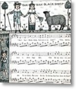 Baa Baa Black Sheep Antique Music Score Metal Print
