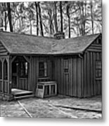Babcock State Park Cabin - Paint Bw Metal Print