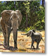 Baby And Mom Elephant Painting Metal Print