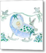 Baby Boy With Bunny And Birds Metal Print
