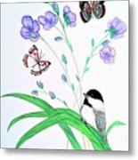 Baby Chickadee And Butterflies Metal Print