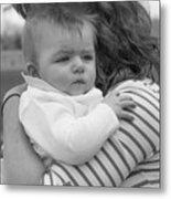 Baby Content On Mom's Shoulder Metal Print