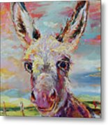 Baby Donkey Painting By Kim Guthrie Art Metal Print