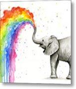 Baby Elephant Spraying Rainbow Metal Print