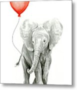 Baby Elephant Watercolor Red Balloon Metal Print