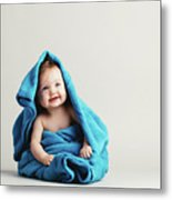 Baby Girl Covered With A Blue Warm Blanket Metal Print