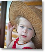 Baby Girl Wearing Straw Hat Metal Print