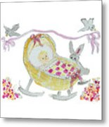 Baby Girl With Bunny And Birds Metal Print