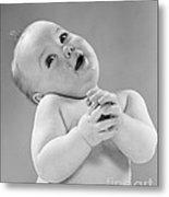 Baby In Sentimental Pose, C.1950s Metal Print
