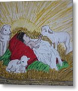 Baby Jesus At Birth Metal Print