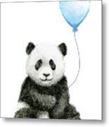 Baby Panda With Blue Balloon Watercolor Metal Print