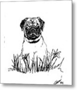 Baby Pug In Flowers Metal Print