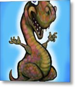 Baby T-rex Blue Metal Print