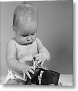 Baby Taking Money From Wallet, C.1960s Metal Print