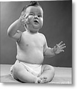 Baby With Odd Expression, 1950s Metal Print