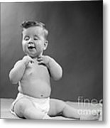 Baby With Vain Expression, 1950s Metal Print