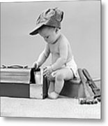 Baby With Work Tools And Lunch Pail Metal Print