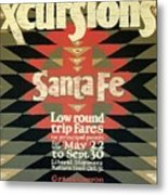 Back East Xcursions - Santa Fe, Mexico - Indian Detour - Retro Travel Poster - Vintage Poster Metal Print