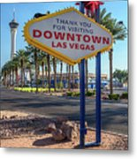 R.i.p. Back Of The Welcome To Downtown Las Vegas Sign Day Metal Print