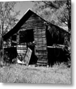 Back On The Farm Black And White Metal Print