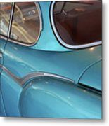Back Side Of A Blue Vintage Car  Metal Print