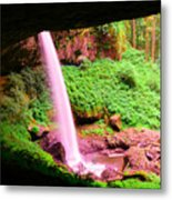 Back Side Of Silver Falls Metal Print