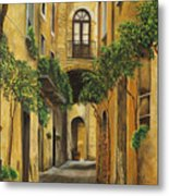 Back Street In Italy Metal Print by Charlotte Blanchard